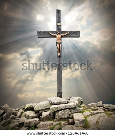 Jesus Christ on The Cross. - stock photo