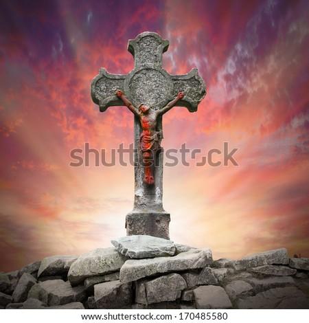 Jesus Christ on The Cross.  - stock photo