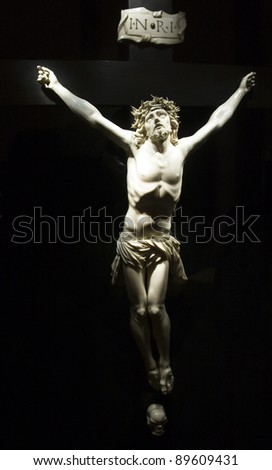 Jesus Christ on the cross from Mallorca church - stock photo