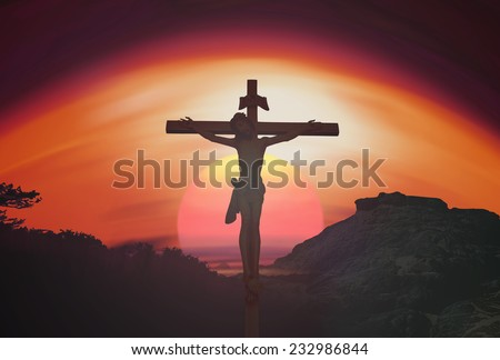 Jesus christ on the cross over sunset background. Christmas background, Forgiveness, Mercy, Humble, Repentance, Reconcile, Adoration, Glorify, Redeemer, Redemption, Gospel, Love, Faith, Hope concept. - stock photo