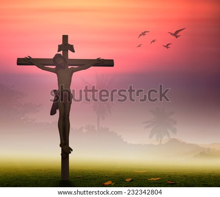 Jesus christ on the white cross over sunset background. Worship Forgiveness Mercy Humble Evangelical Hallelujah Thankful Praise Redeemer Amen Pray concept.