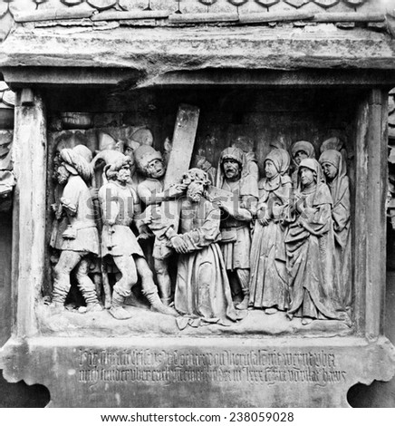 Jesus Christ, one of the seven stations, bas relief sculpture by Adam Kraft, ca 1400s. - stock photo
