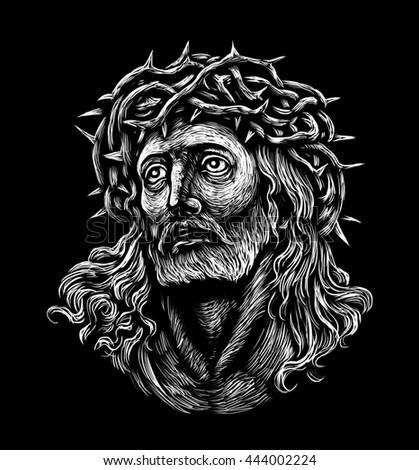 Jesus Christ. Sepia  graphic illustration black background - stock photo