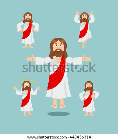 Jesus Christ set of poses. Jesus Holy man set of movements. Son of God is expression of emotions. biblical character. Christian and Catholic character. 
