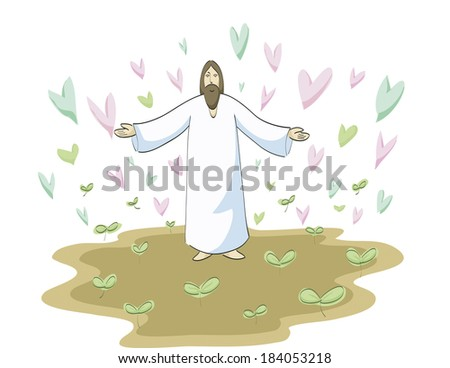 Jesus Christ spreading love - stock photo
