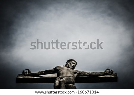 jesus christ statue in the cemetery - stock photo