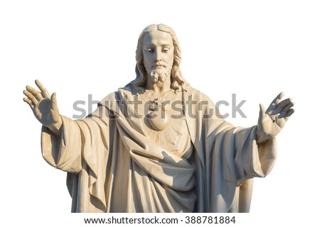 Jesus Christ Statue isolated over white background