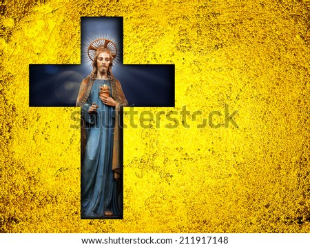 Jesus cross  with Gold  leaf  metal texture background - stock photo