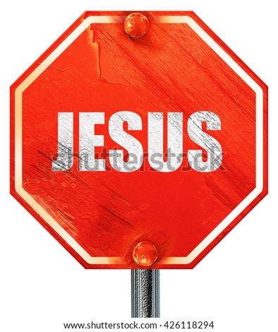 jesus, 3D rendering, a red stop sign - stock photo