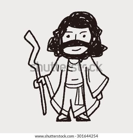 Jesus doodle - stock photo