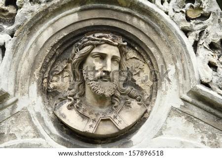jesus face antique - stock photo