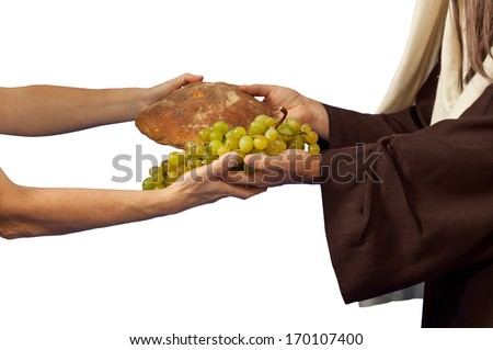 Jesus gives bread and grapes on white background - stock photo