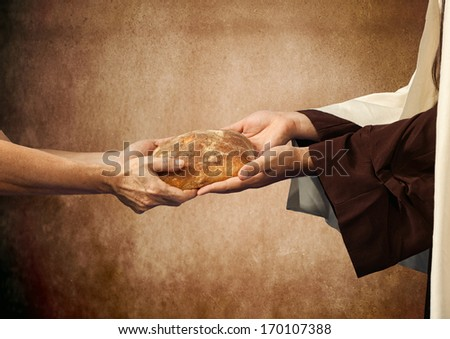 Jesus gives the bread to a beggar on beige background - stock photo
