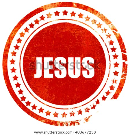 jesus, grunge red rubber stamp on a solid white background - stock photo