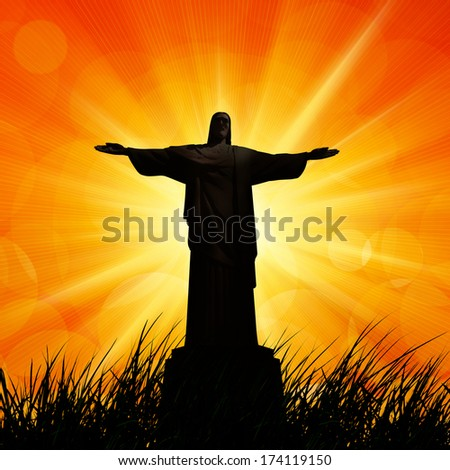 jesus in a grass, and sunset sky background  - stock photo