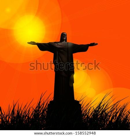 jesus, in a grass, sunset sky background - stock photo