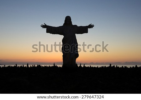 Jesus loves you - silhouette  - stock photo