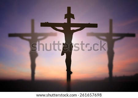Jesus on cross with beautiful background. - stock photo