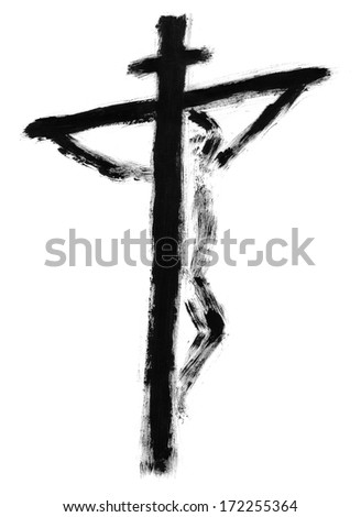 Jesus on the cross drawn with watercolors - stock photo