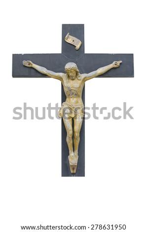 Jesus on the cross,isolated - stock photo