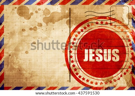 jesus, red grunge stamp on an airmail background - stock photo