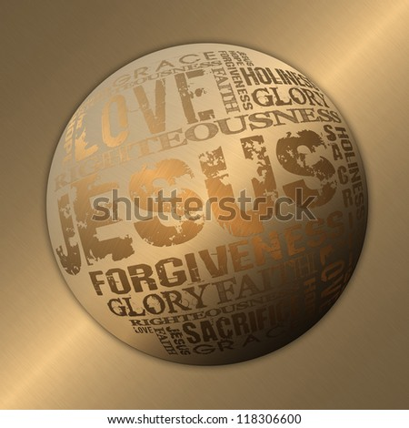 Jesus Religious Background Gold Style - stock photo