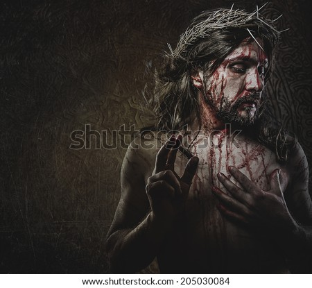 jesus, representation of Calvary, passion - stock photo