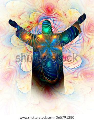 Jesus-Spiritual Energy abstract illustration - stock photo