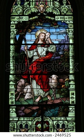 Jesus Stained Glass - stock photo