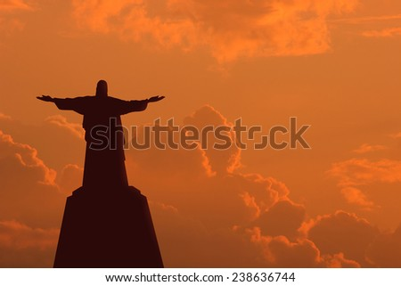 Jesus sunset and clouds. - stock photo