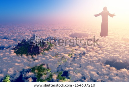 Jesus walking on clouds - stock photo