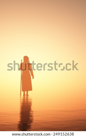 Jesus walking on water. - stock photo