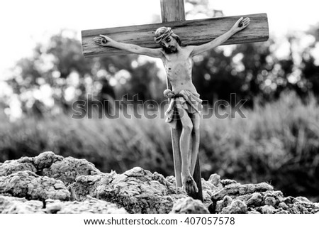 Jesus with the cross,Faith belief and hope concept,Black and white - stock photo