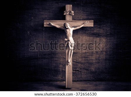 Jesus with the cross vintage sepia,Faith belief and hope concept - stock photo