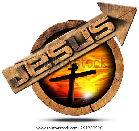Jesus Wooden Sign with Arrow and Cross. Wooden signage with arrow and text Jesus, cross silhouette at sunset with cloudy sky. isolated on white background - stock photo