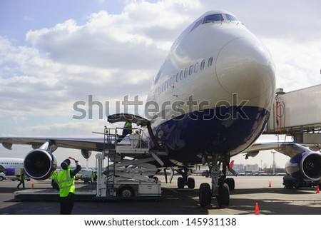 Jet aircraft in Domodedovo airport of Moscow - stock photo