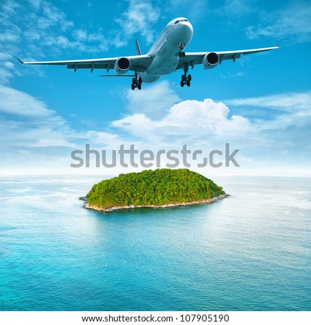 Jet aircraft over the tropical island. Square composition. - stock photo