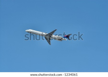 Jet aircraft taking off in a cloudless blue sky - stock photo