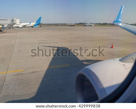 Jet Aircraft Turbine Close-up view in International Airport. Airfield and airplanes. - stock photo