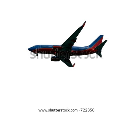 Jet airliner isolated against a white background - stock photo
