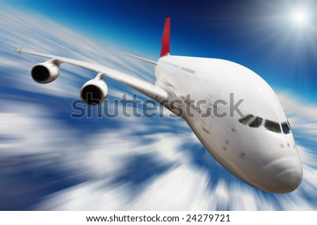 Jet airplane in the sky with motion blur - stock photo