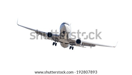 Jet Airplane Landing Isolated on a White Background.