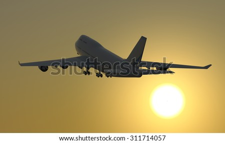 Jet airplane takeoff at sunrise. A Jet airplane takes off during sunrise towards a clear sky.