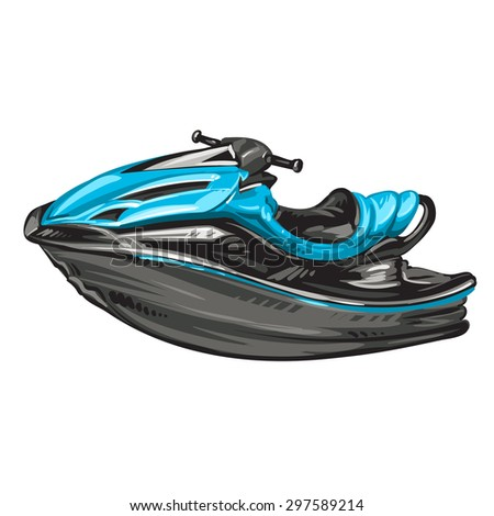 Jet boat, scooter on white background - stock photo
