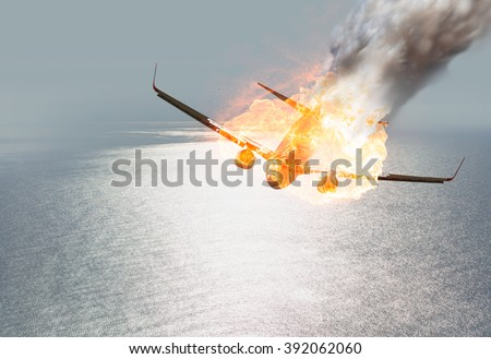 Jet carrier and engine on fire - stock photo