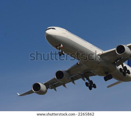 jet coming into Vancouver airport - stock photo
