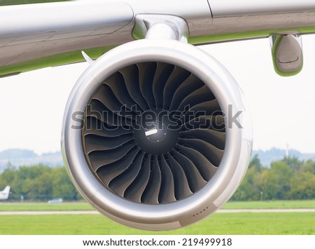 Jet engine aircraft closeup - stock photo
