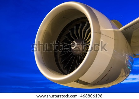 jet engine at twilight sky