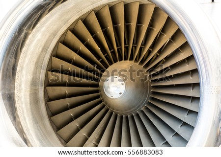 Jet engine blades closeup