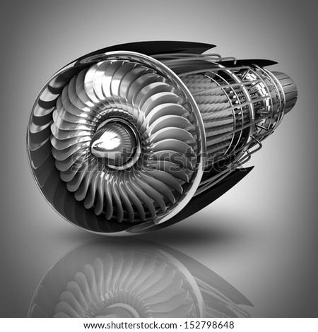 Jet engine inside. High resolution. 3D image  - stock photo